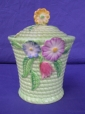 Carlton Ware Green Flowers & Basket Preserve Pot