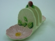 Carlton Ware Green Wild Rose Toast Rack