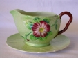 Carlton Ware Green Wild Rose Gravy Boat & Underplate