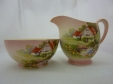 Royal Winton Pink Red Roof Creamer & Sugar Bowl