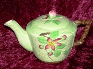 Carlton Ware Green Apple Blossom Teapot