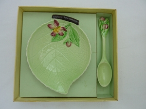 Carlton Ware Green Apple Blossom Pin Dish & Spoon (Boxed)