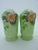 Carlton Ware Green Wild Rose Large Salt & Pepper Shakers