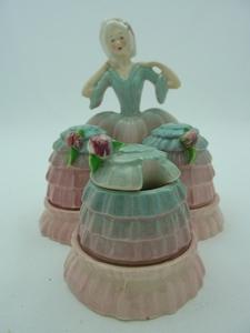 Carlton Ware Pink/Blue Crinoline Lady Cruet Set