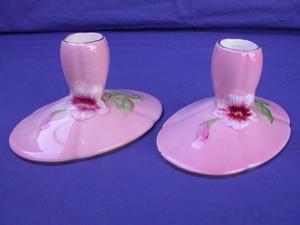 Royal Winton Pink Petunia Candlestick Holders