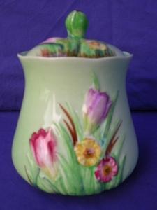 Carlton Ware Green Crocus Preserve Pot
