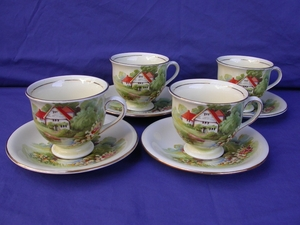 Royal Winton Cream Red Roof Cups & Saucers