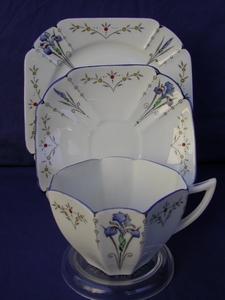 Shelley Blue Iris (11561) Cup, Saucer & Plate