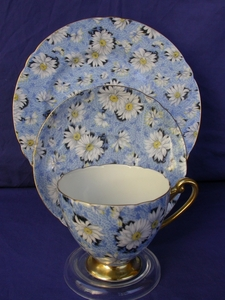 Shelley Blue Daisy Chintz Cup, Saucer & Plate