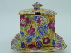 Royal Winton Royalty Chintz Jam Pot & Underplate
