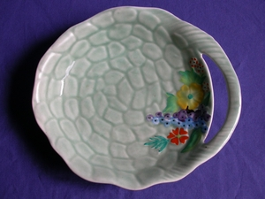 Carlton Ware Green Rock Garden Leaf Butter Dish
