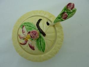 Carlton Ware Yellow Apple Blossom Jam Pot & Spoon (Boxed)