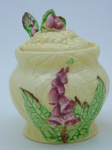 Carlton Ware Yellow Foxglove Preserve Pot & Spoon