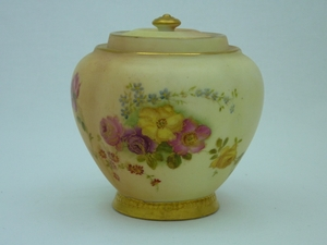 Royal Worcester Floral Lidded Pot