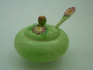 Carlton Ware Green Wild Rose Preserve Pot & Spoon