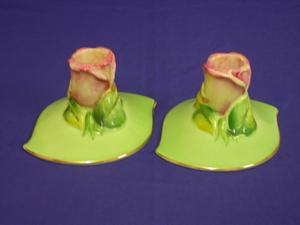 Royal Winton Green Rosebud Candlesticks