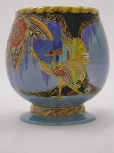 Carlton Ware Steel Blue Lustre Secretary Bird Vase