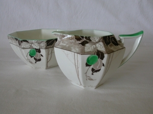 Shelley Green Damsons (11833) Creamer & Sugar Bowl