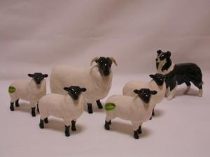 Beswick Sheepdog, Black-Faced Sheep & Lambs